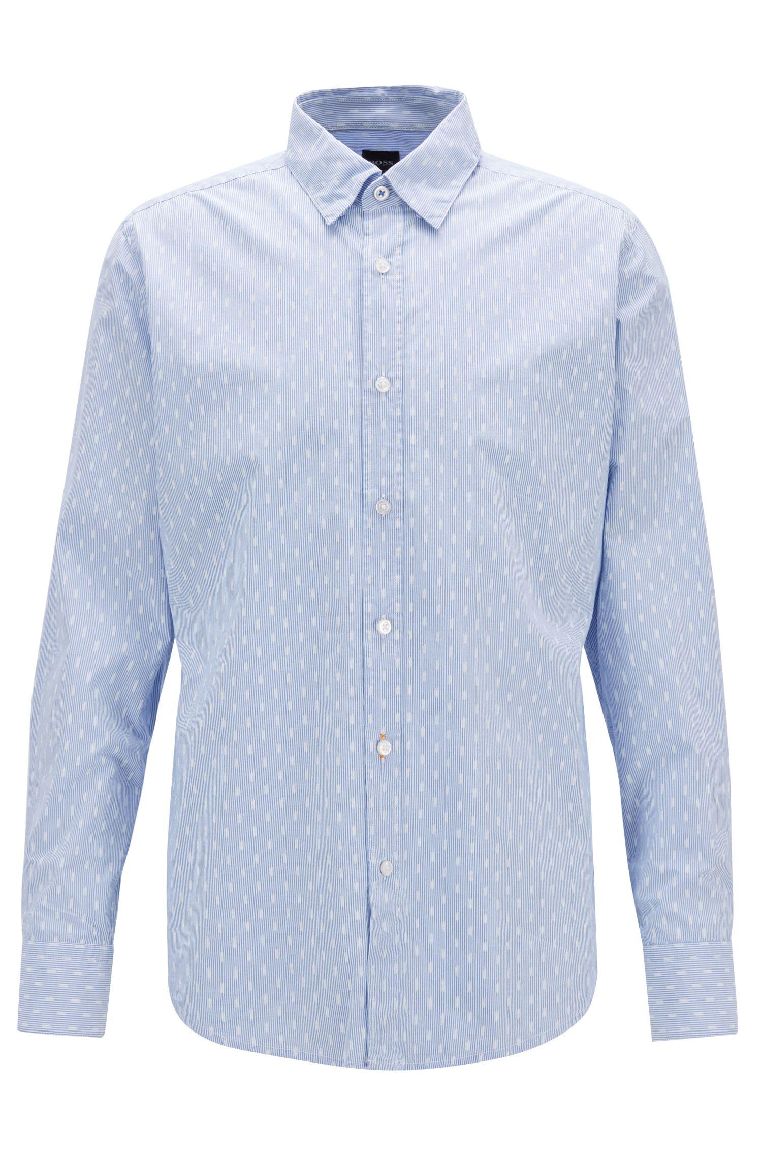 Camicia regular fit in cotone dobby stampato, Lilla