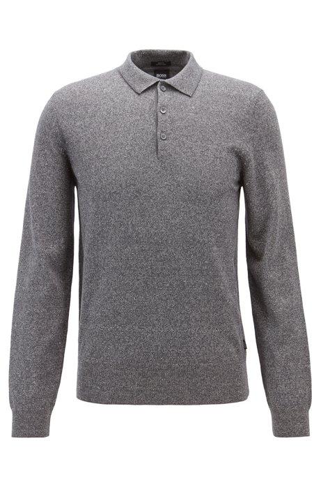Jersey slim fit en mezcla de algodón y lino, Gris