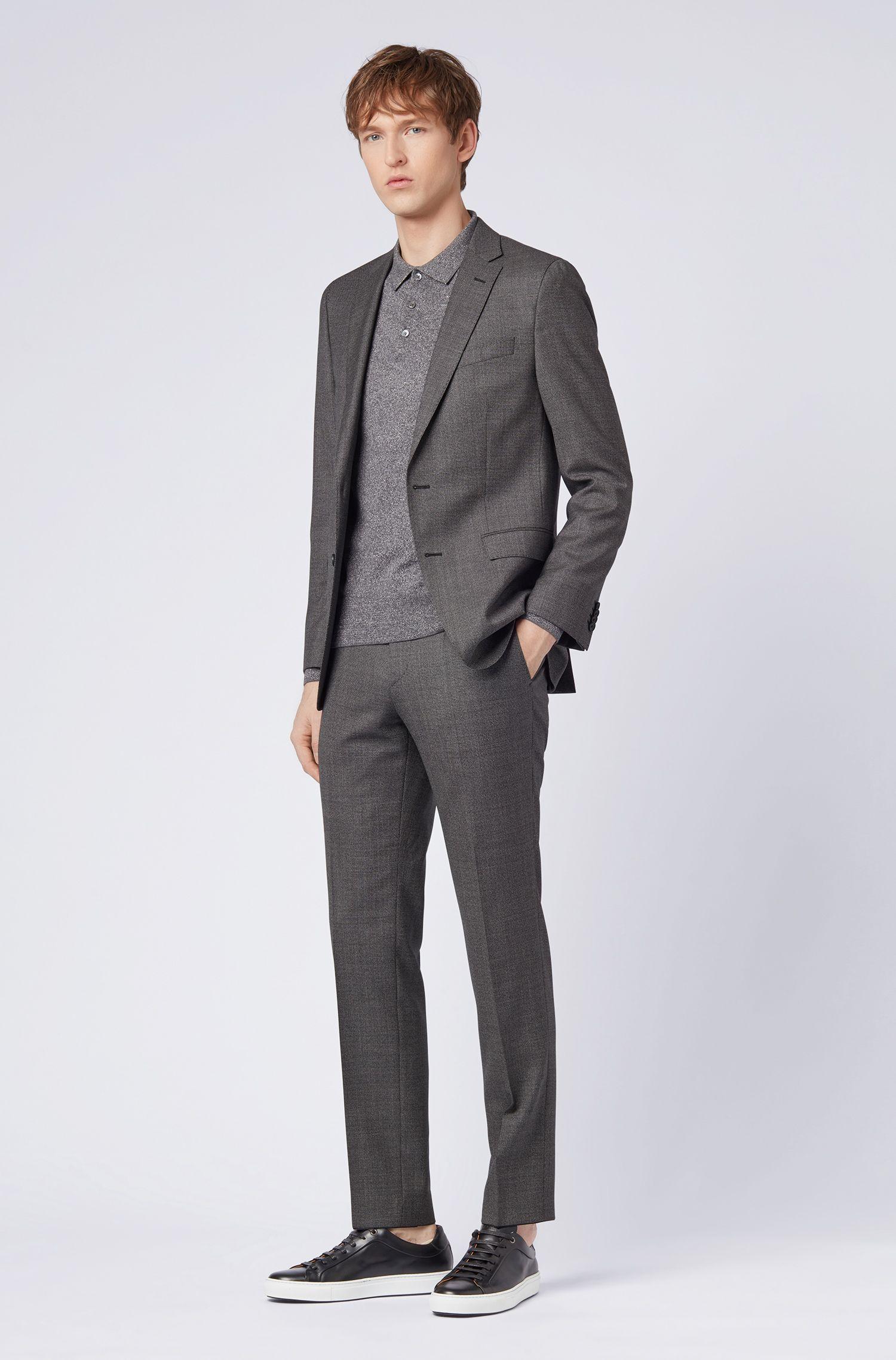 Gebreide slim-fit trui in een mix van katoen en linnen, Grijs