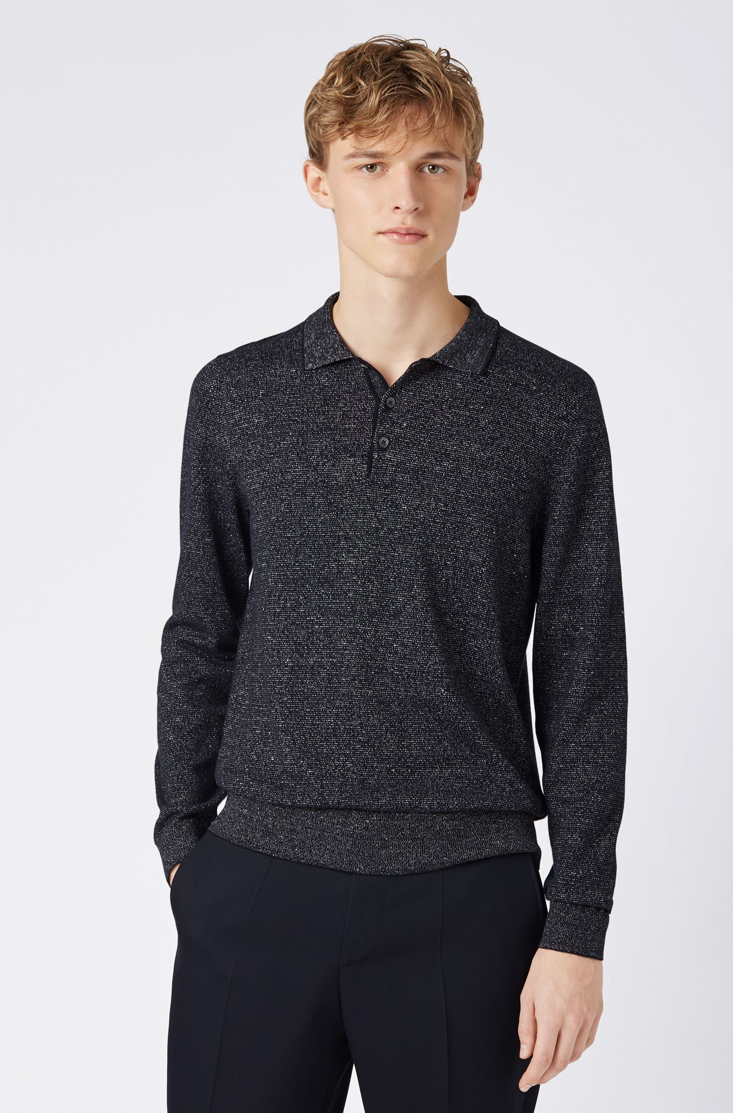 Slim-fit knitted sweater in a cotton-linen blend, Dark Blue