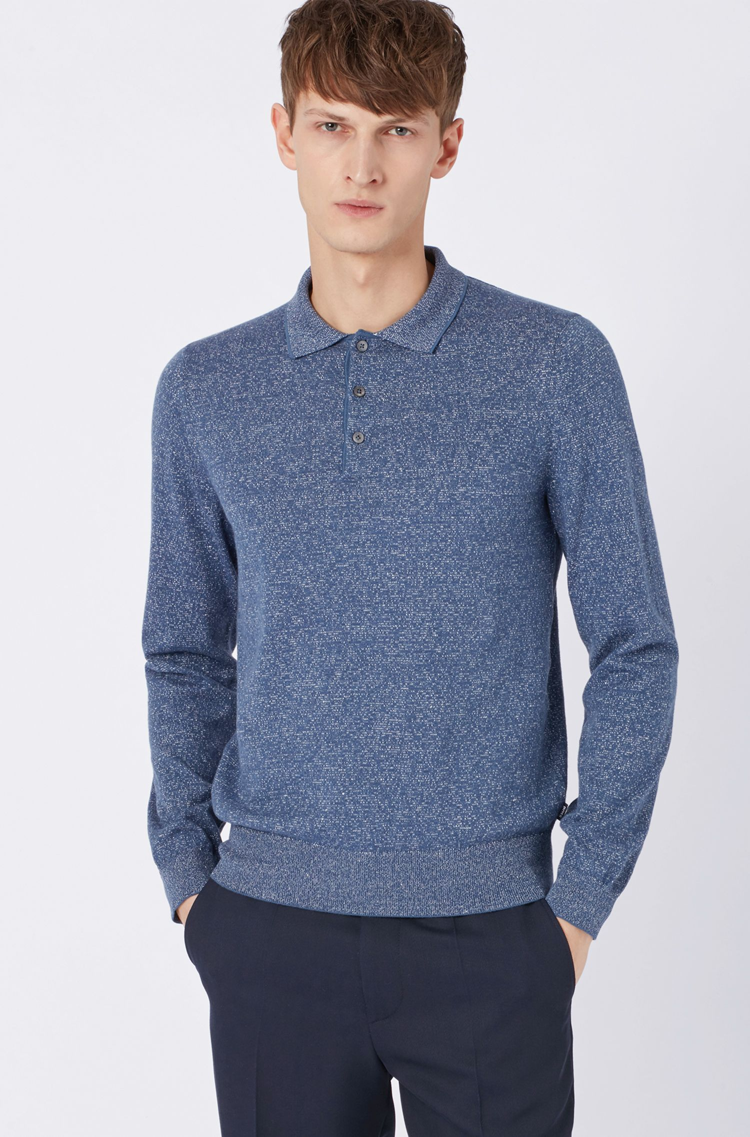 Slim-fit knitted sweater in a cotton-linen blend, Blue