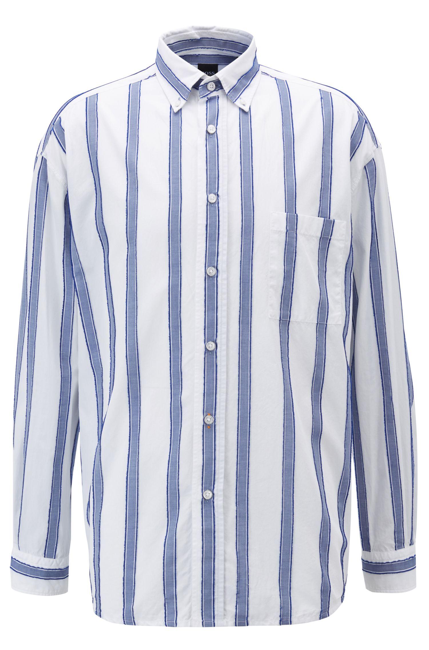 Camicia relaxed fit con righe in fil coupé, Blu scuro