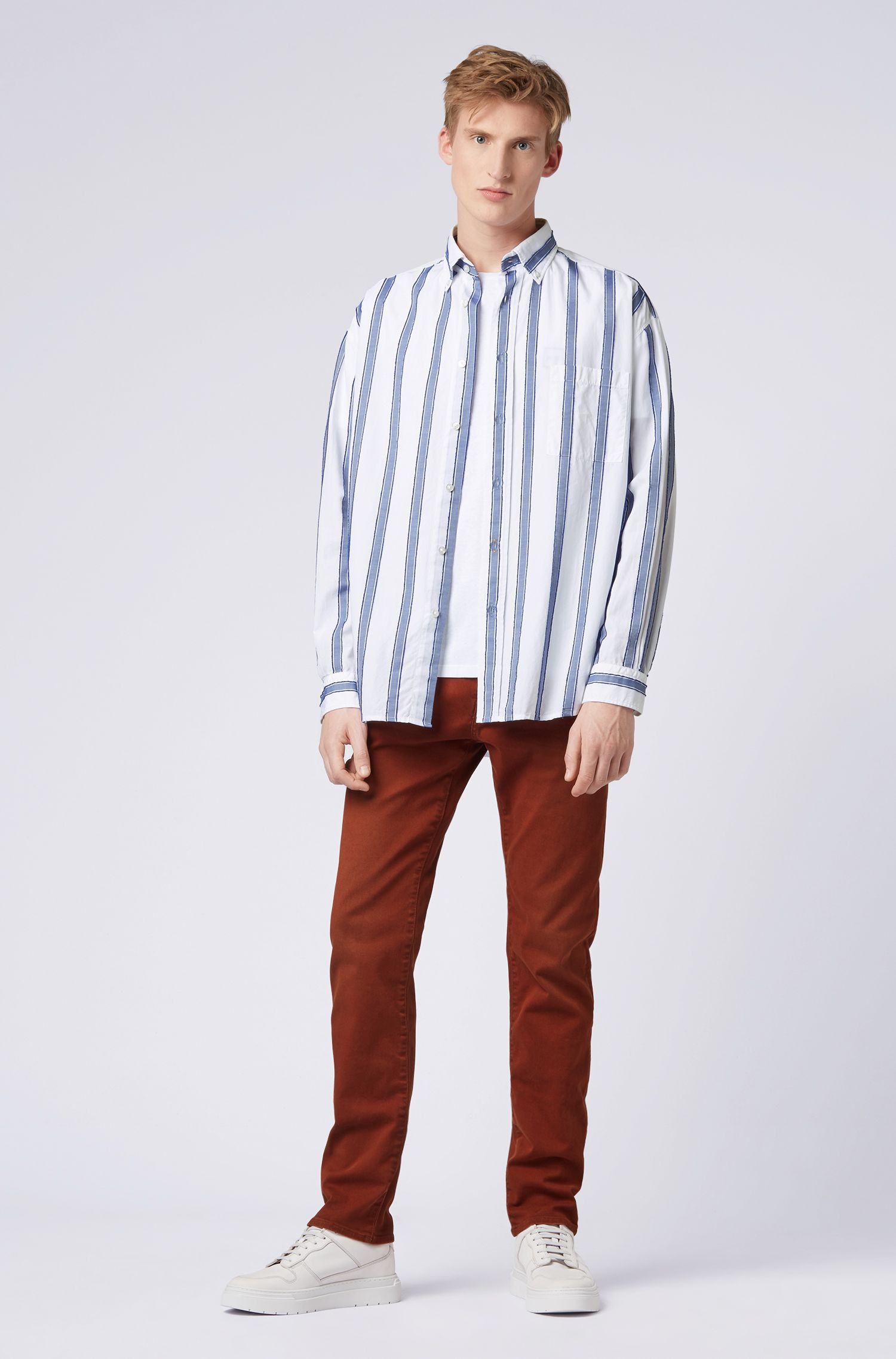 Relaxed-Fit Hemd mit Fil-coupé-Streifen, Dunkelblau