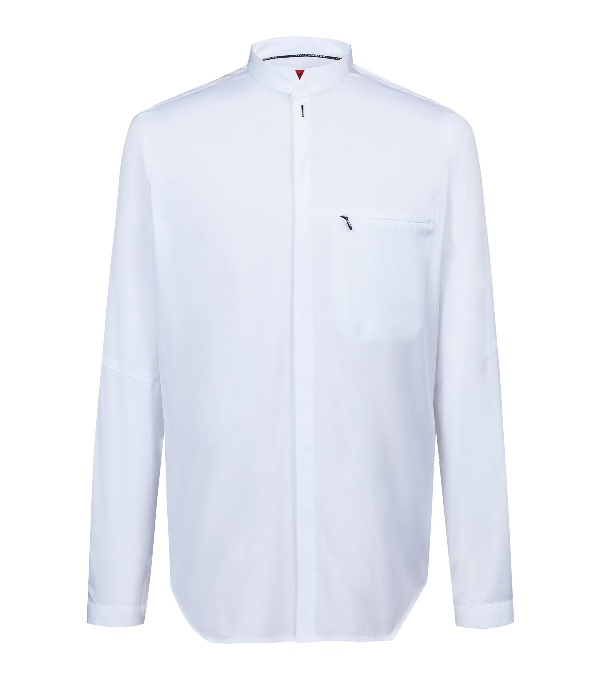 Bits & Bytes Capsule relaxed-fit cotton shirt with stand collar, White
