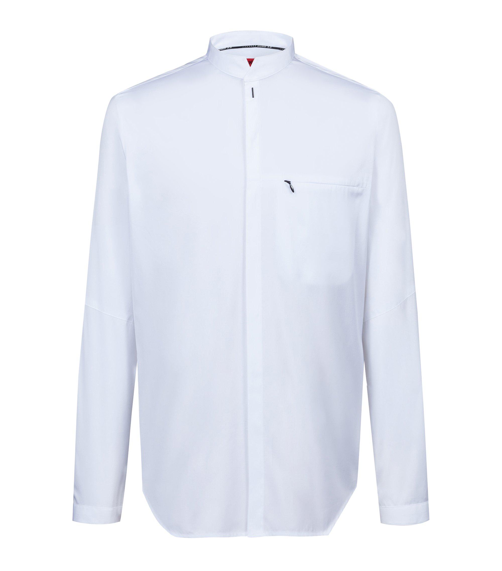 Chemise Relaxed Fit en coton à col mao de la collection capsule Bits & Bytes, Blanc