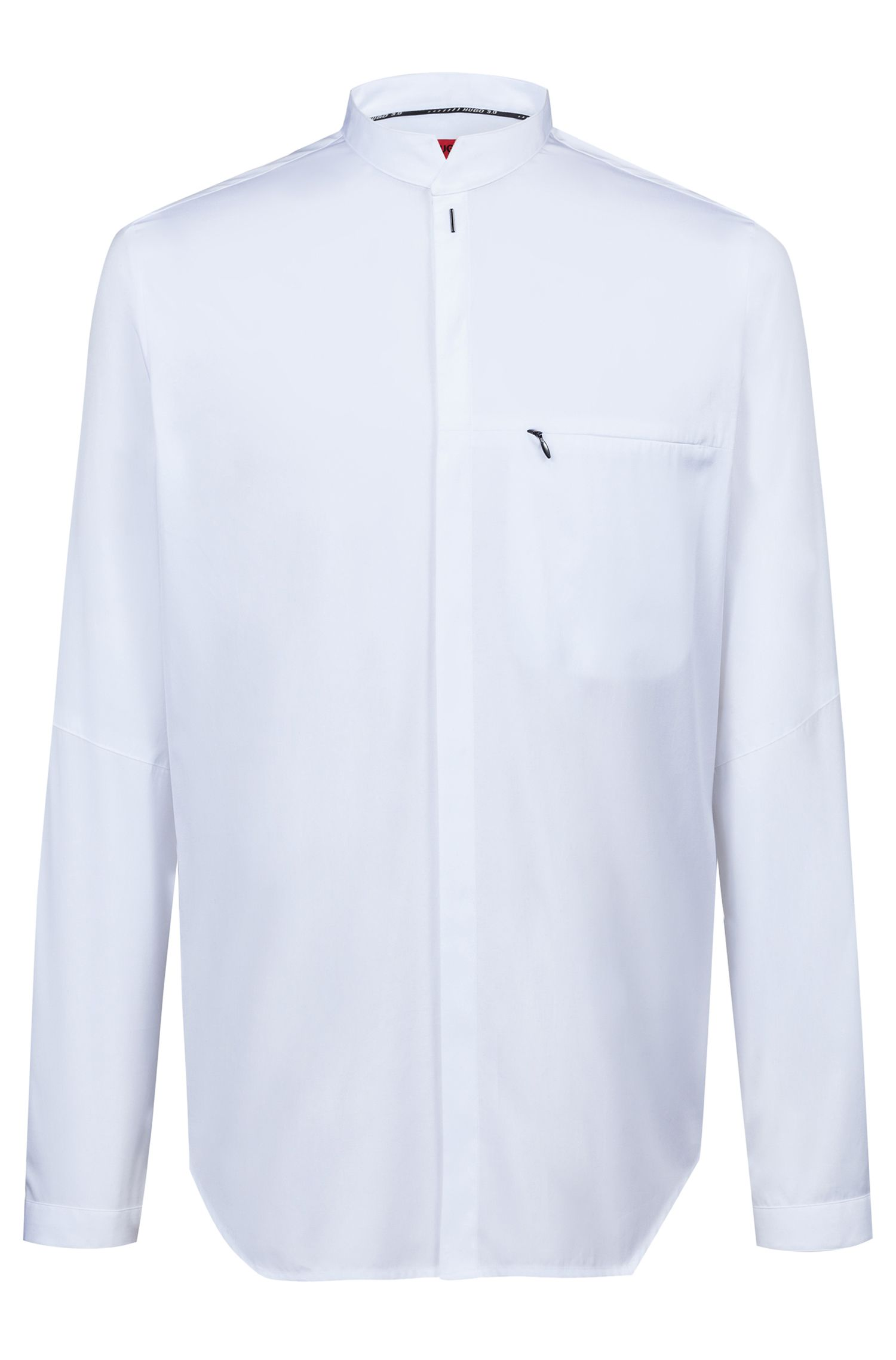 Chemise Relaxed Fit en coton à col mao de la collection capsule Bits & Bytes, Blanc