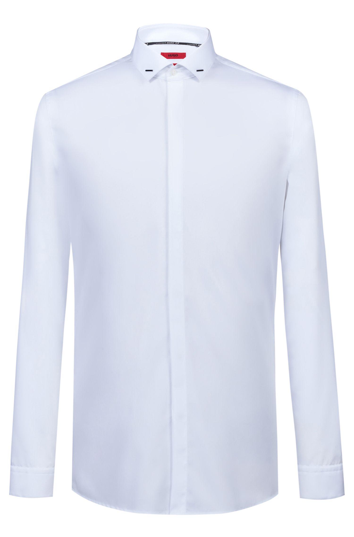 Chemise de soirée en coton Extra Slim Fit, de la collection capsule Bits & Bytes, Blanc