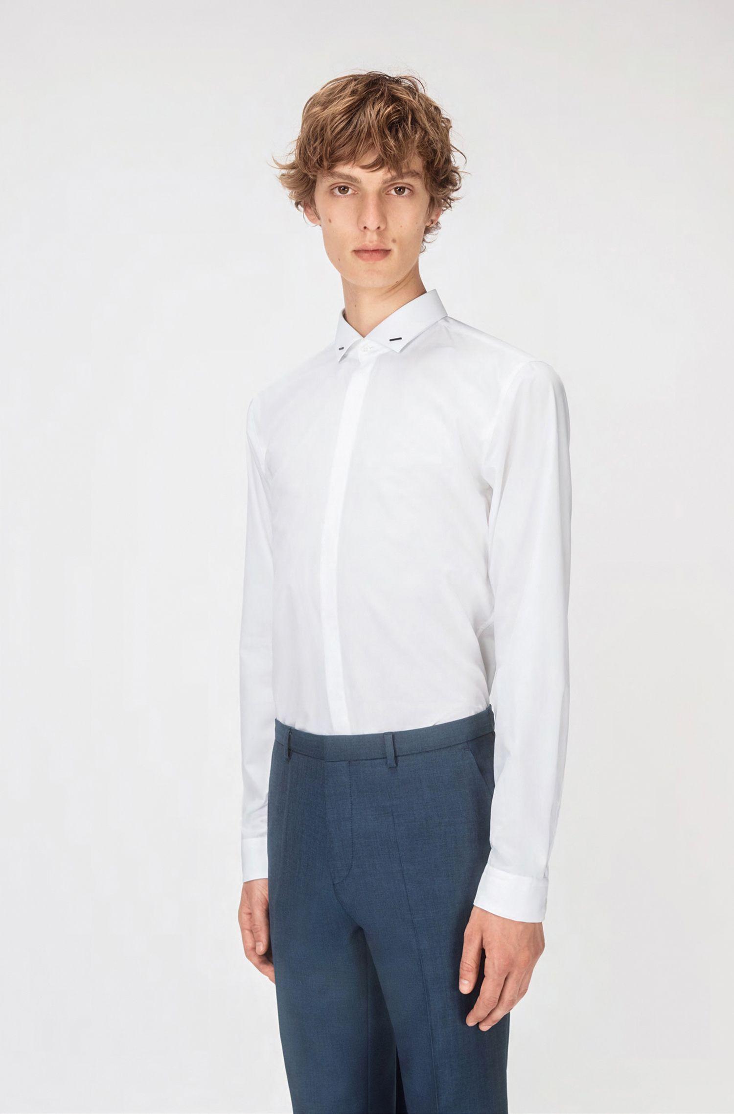 Camicia da smoking extra slim fit in cotone della capsule Bits & Bytes, Bianco