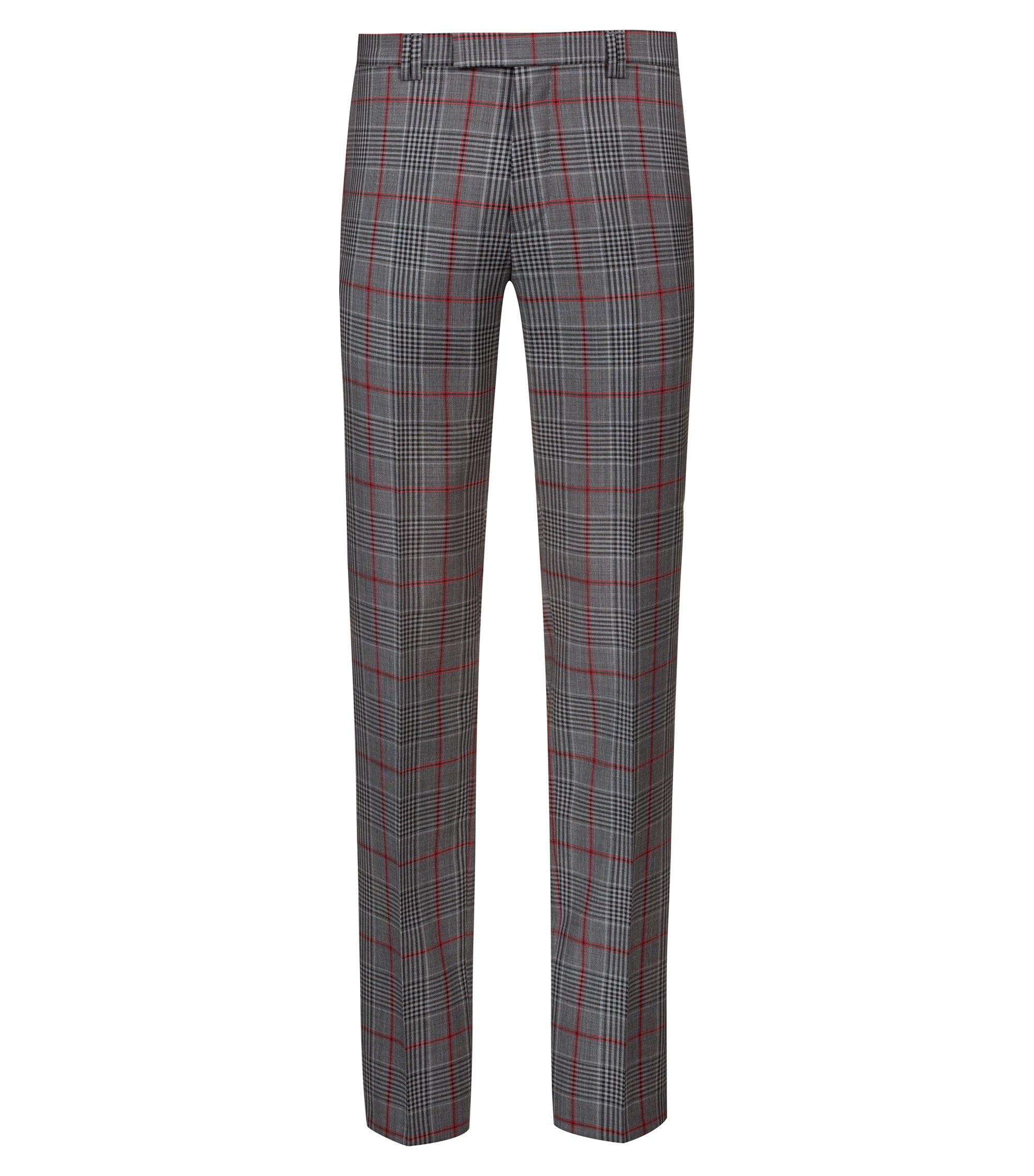 Pantalon Extra Slim Fit en laine vierge à carreaux, Fantaisie