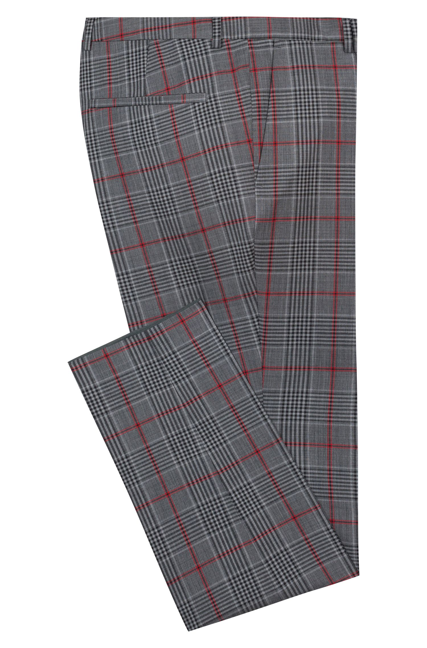 Extra-slim-fit virgin wool trousers with check pattern, Patterned