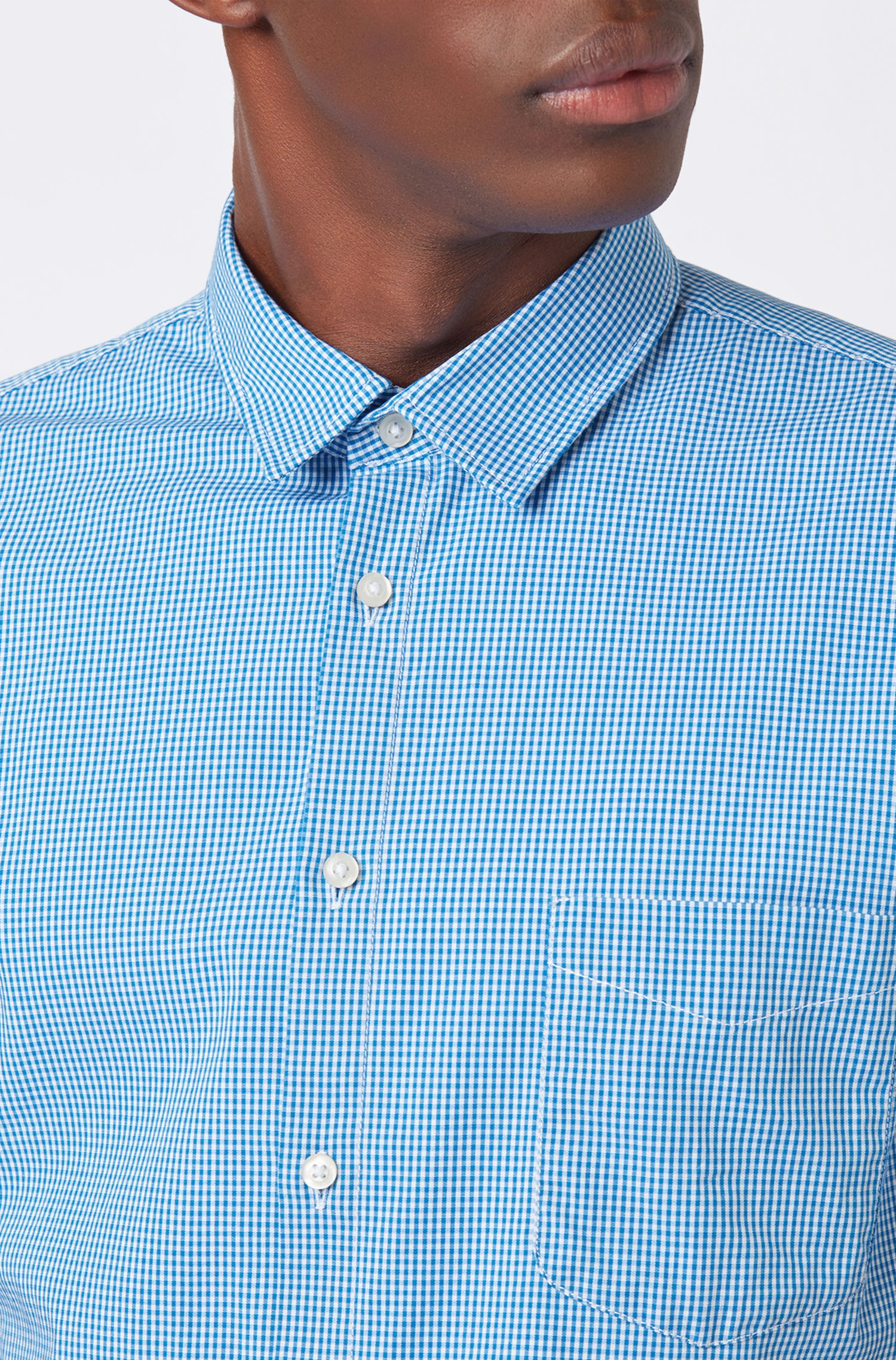 Slim-fit shirt in Vichy-check stretch-cotton canvas, Light Blue