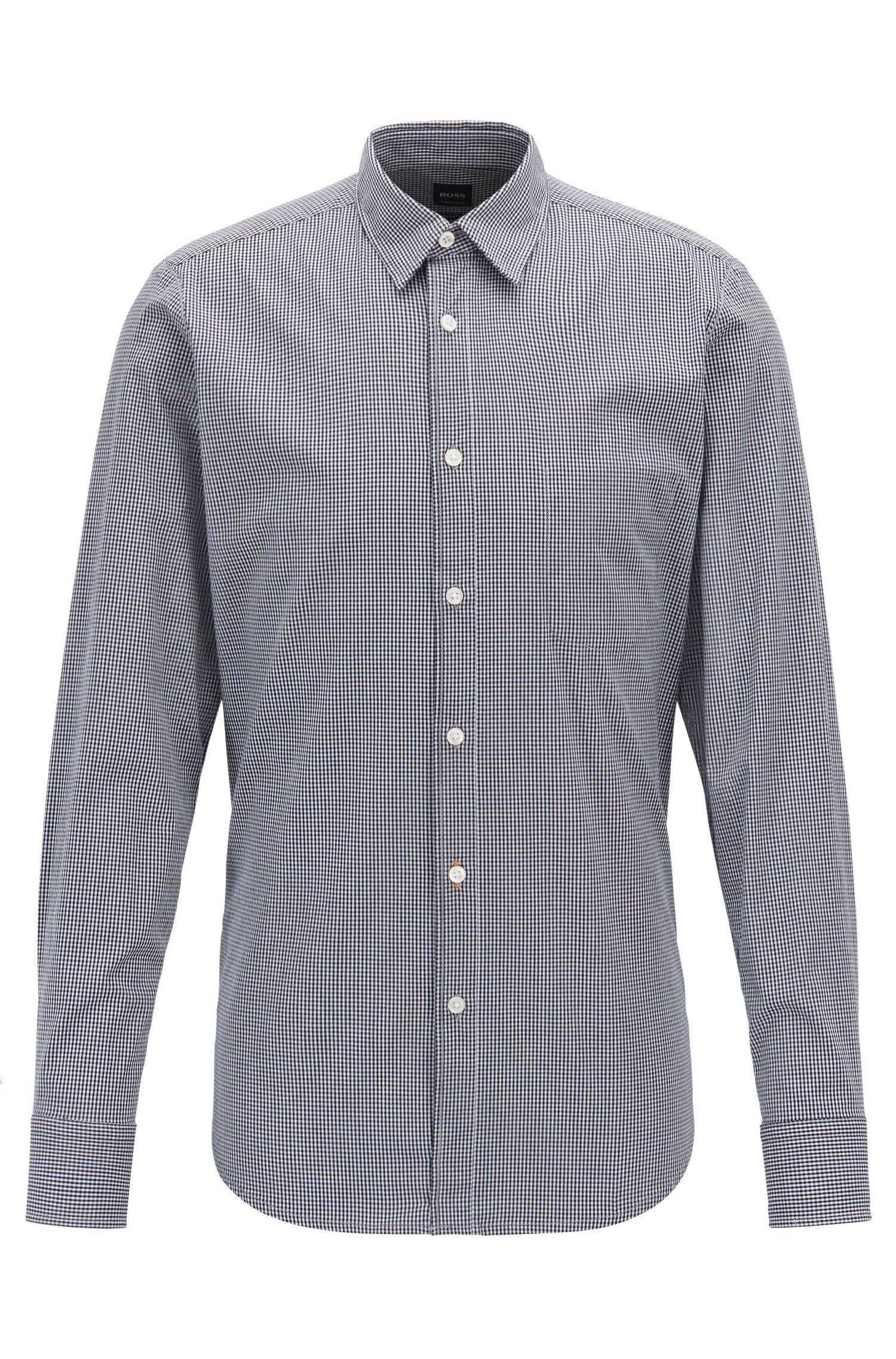 Regular-fit shirt in Vichy-check stretch cotton, Dark Blue
