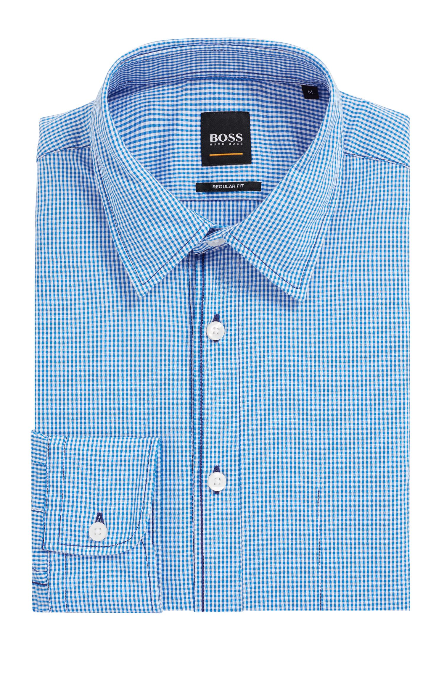 Regular-fit shirt in Vichy-check stretch cotton, Light Blue