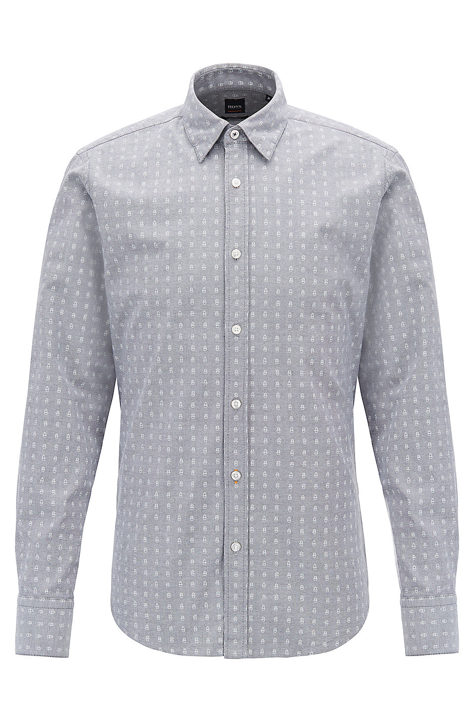 aff66c05 BOSS - Regular-fit shirt in stretch cotton with mini-cactus print