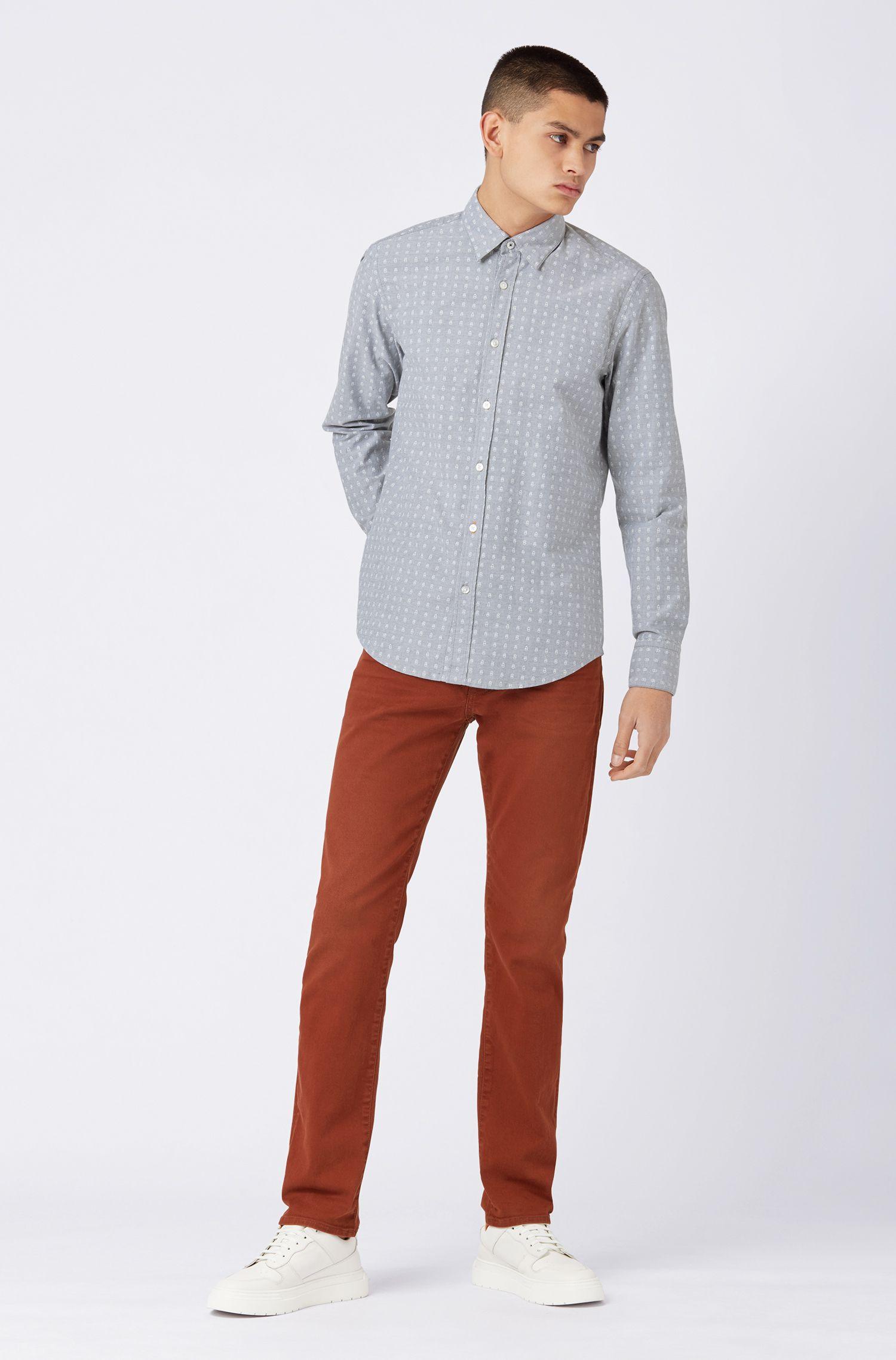 Regular-fit shirt in stretch cotton with mini-cactus print, Dark Blue