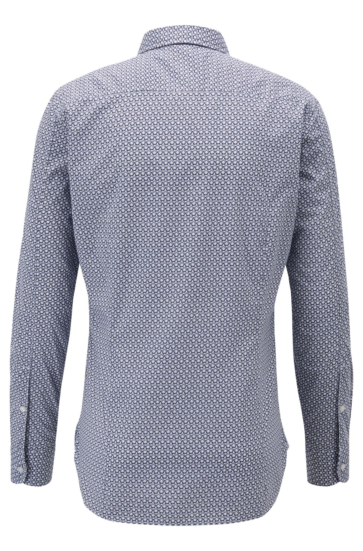 Printed slim-fit shirt in enzyme-washed cotton canvas, Dark Blue