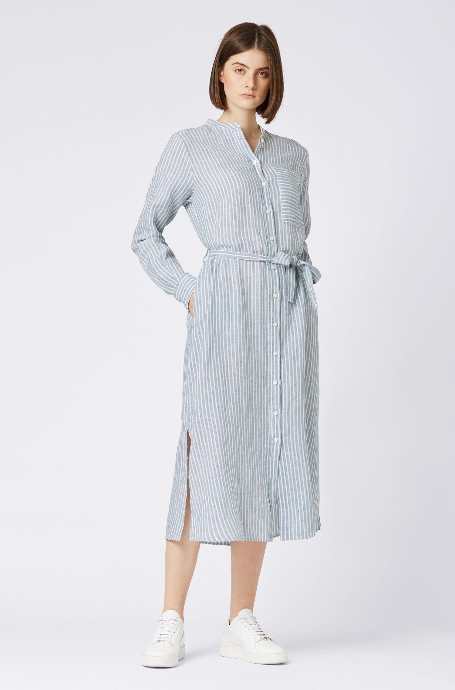 Blouse in tuniekstijl, van zuiver linnen met verticale strepen, Blauw