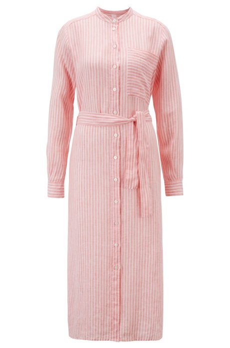 Blusa estilo túnica en lino puro con rayas verticales, Naranja claro
