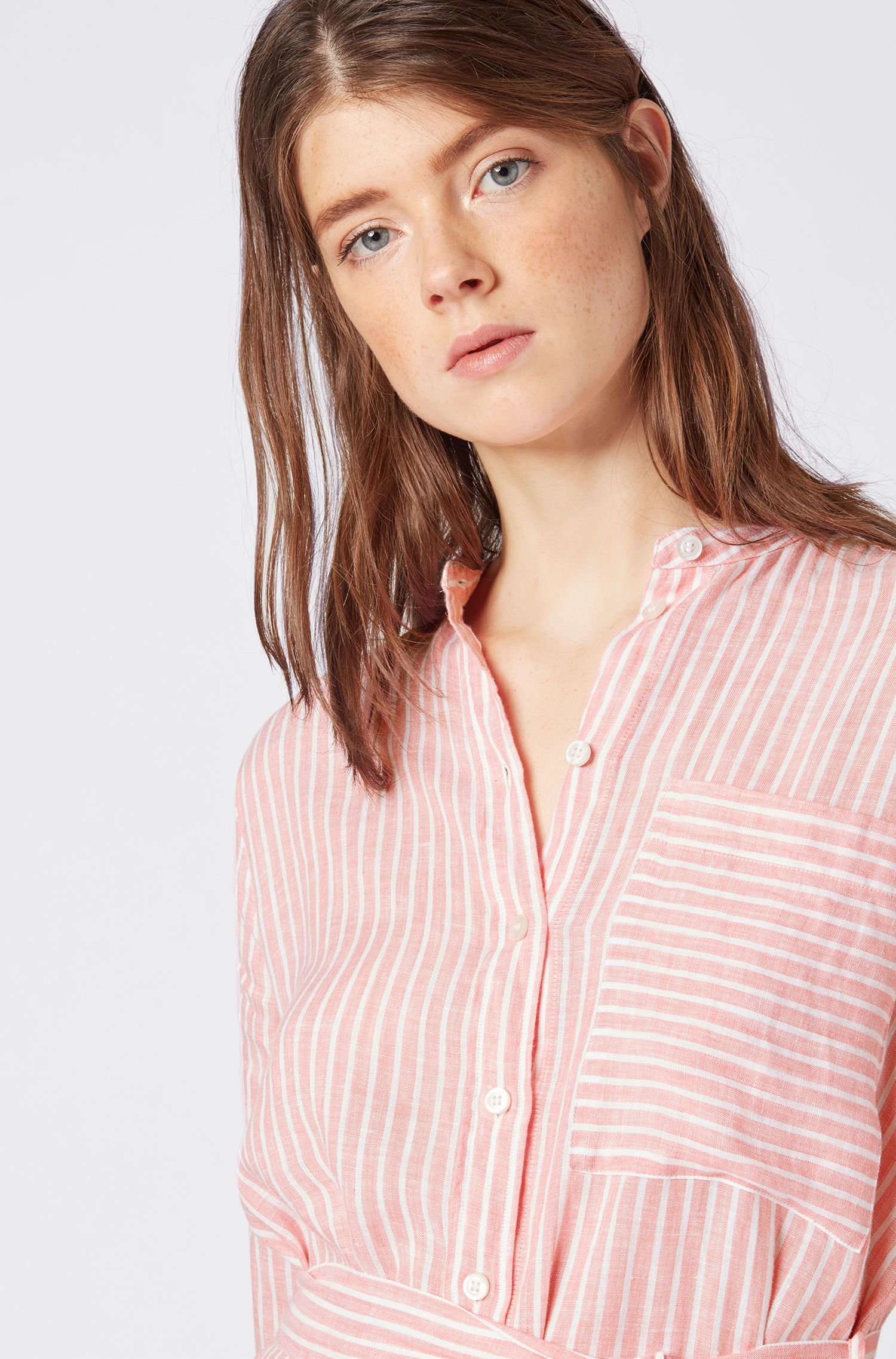 Tunic-style blouse in pure linen with vertical stripes, Light Orange