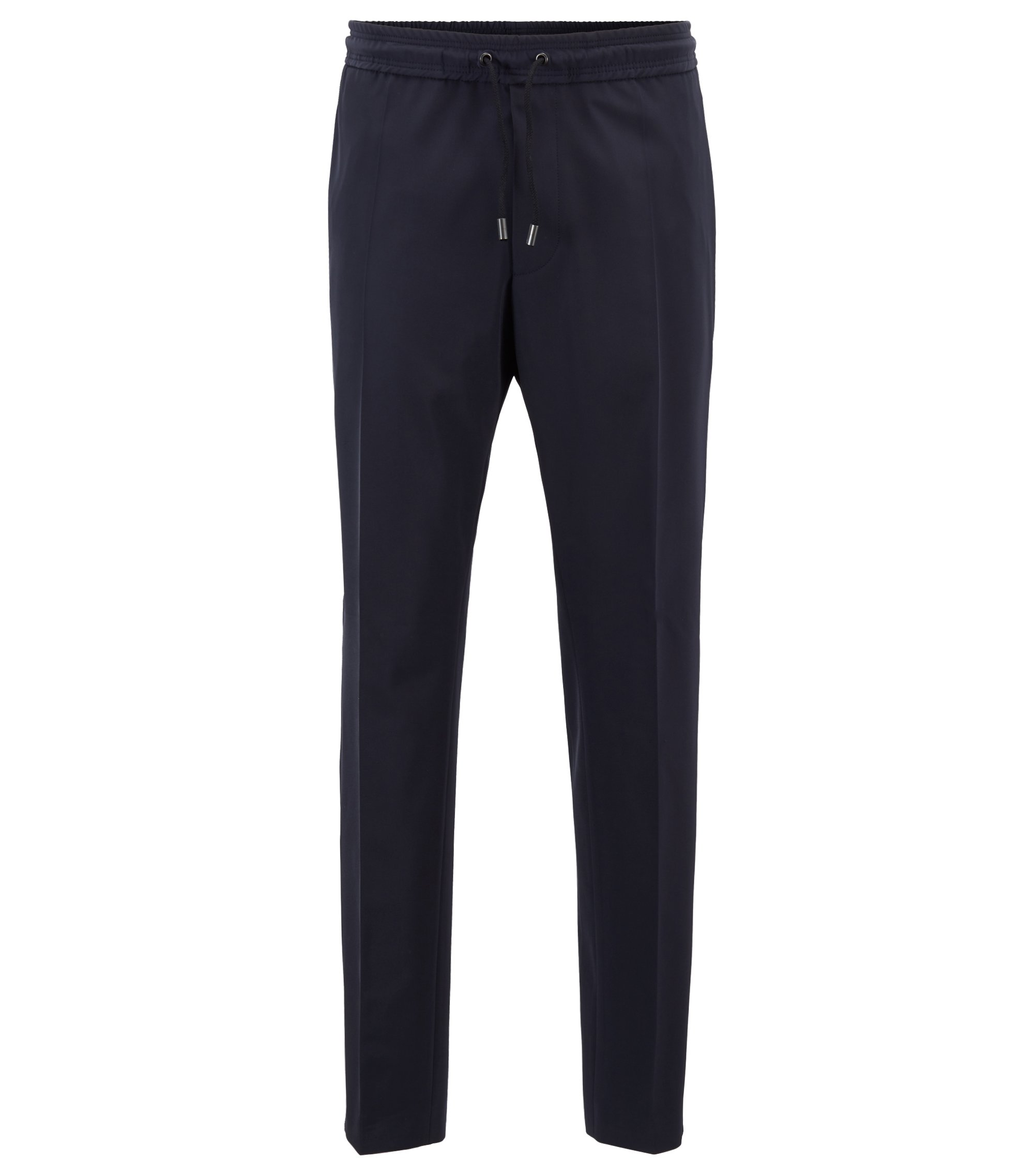 Fashion Show Capsule relaxed-fit trousers with satin tape, Dark Blue