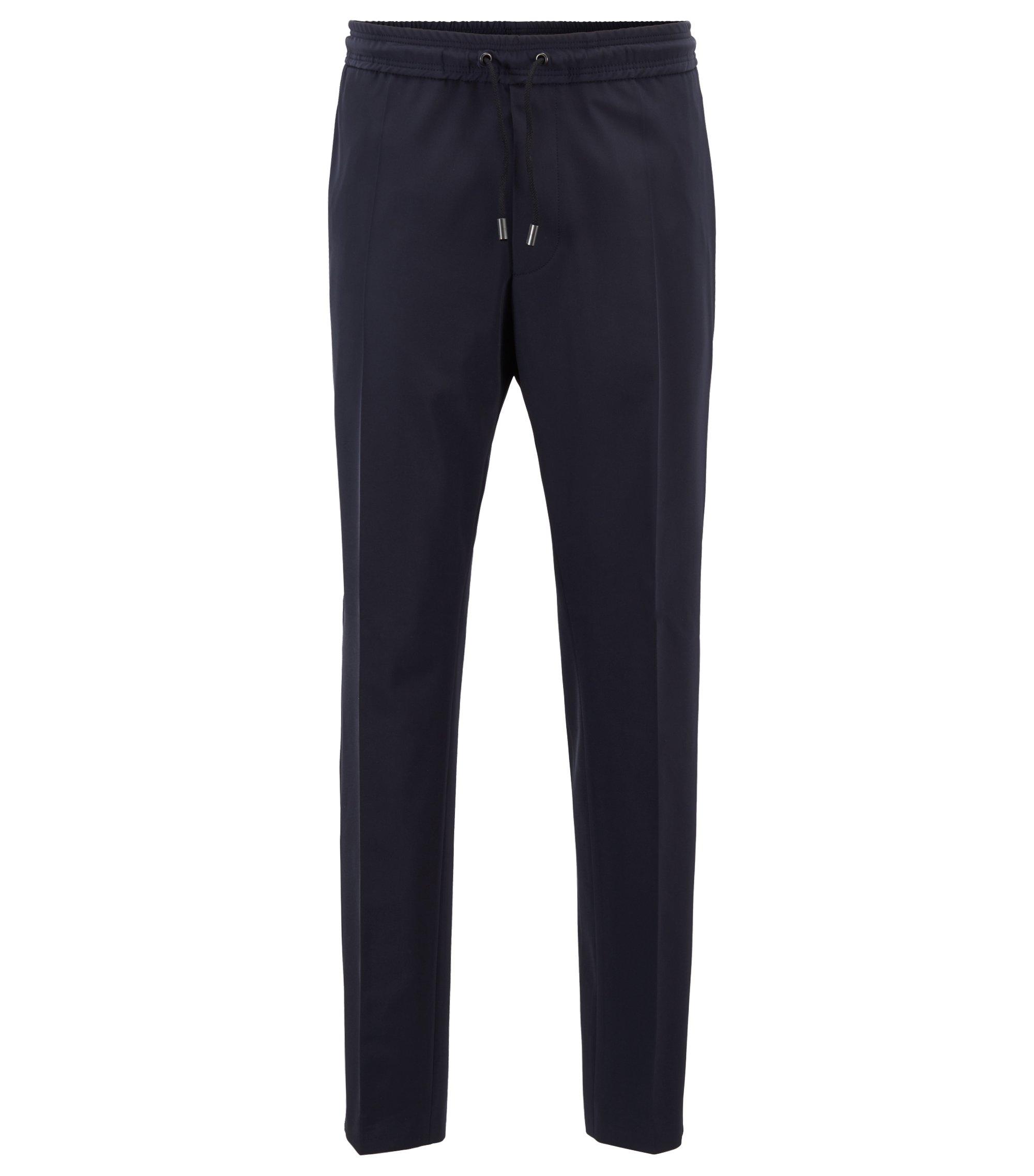 Pantalones de corte ajustado con cinta de satén de la colección cápsula Fashion Show, Azul oscuro