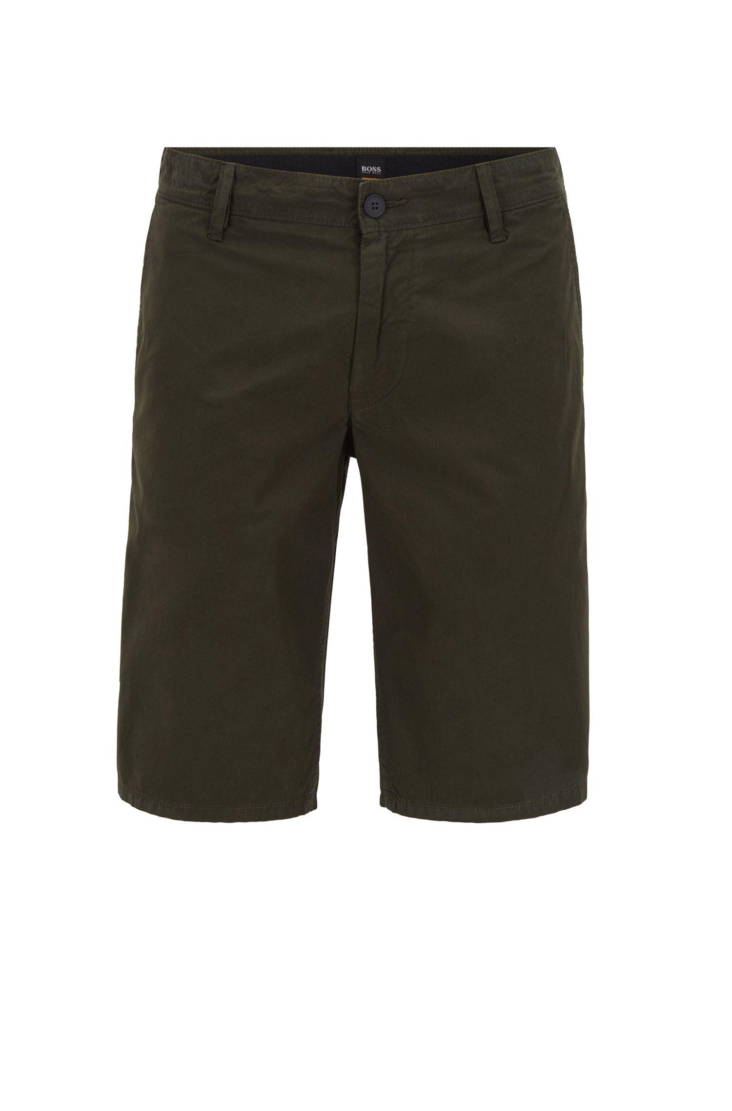 Shorts regular fit con teñido reactivo en puro algodón , Verde oscuro