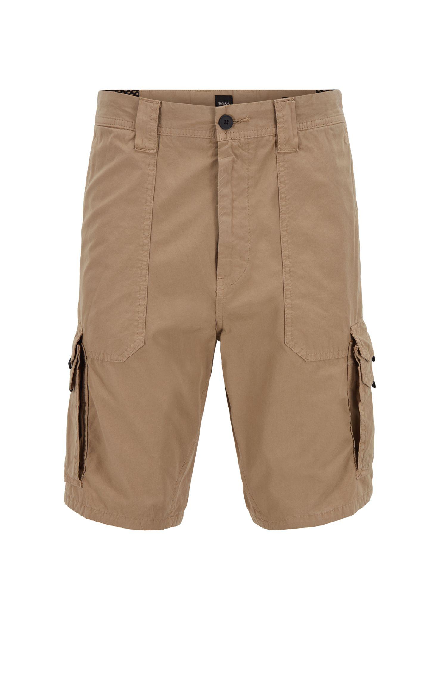 Shorts tapered fit en popelín de algodón con bolsillos dobles, Beige