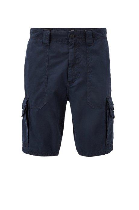Shorts tapered fit en popelín de algodón con bolsillos dobles, Azul oscuro