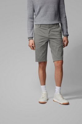 Short chino Slim Fit en satin stretch double teinte, Gris