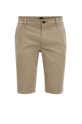 59003532d BOSS - Slim-fit chino shorts in double-dyed stretch satin