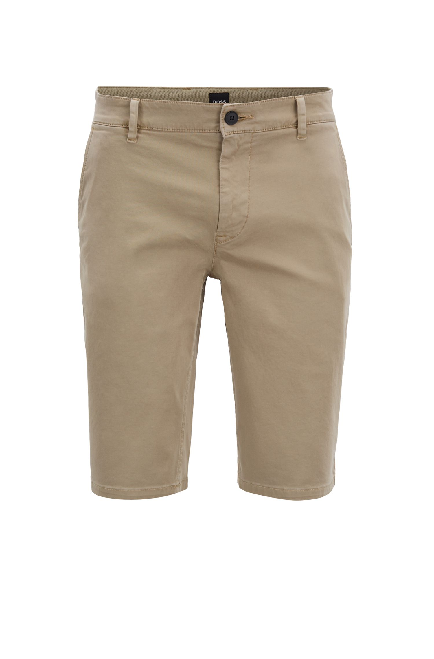 Slim-fit chino shorts in double-dyed stretch satin, Beige