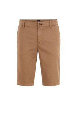Short chino Slim Fit en satin stretch double teinte, Beige
