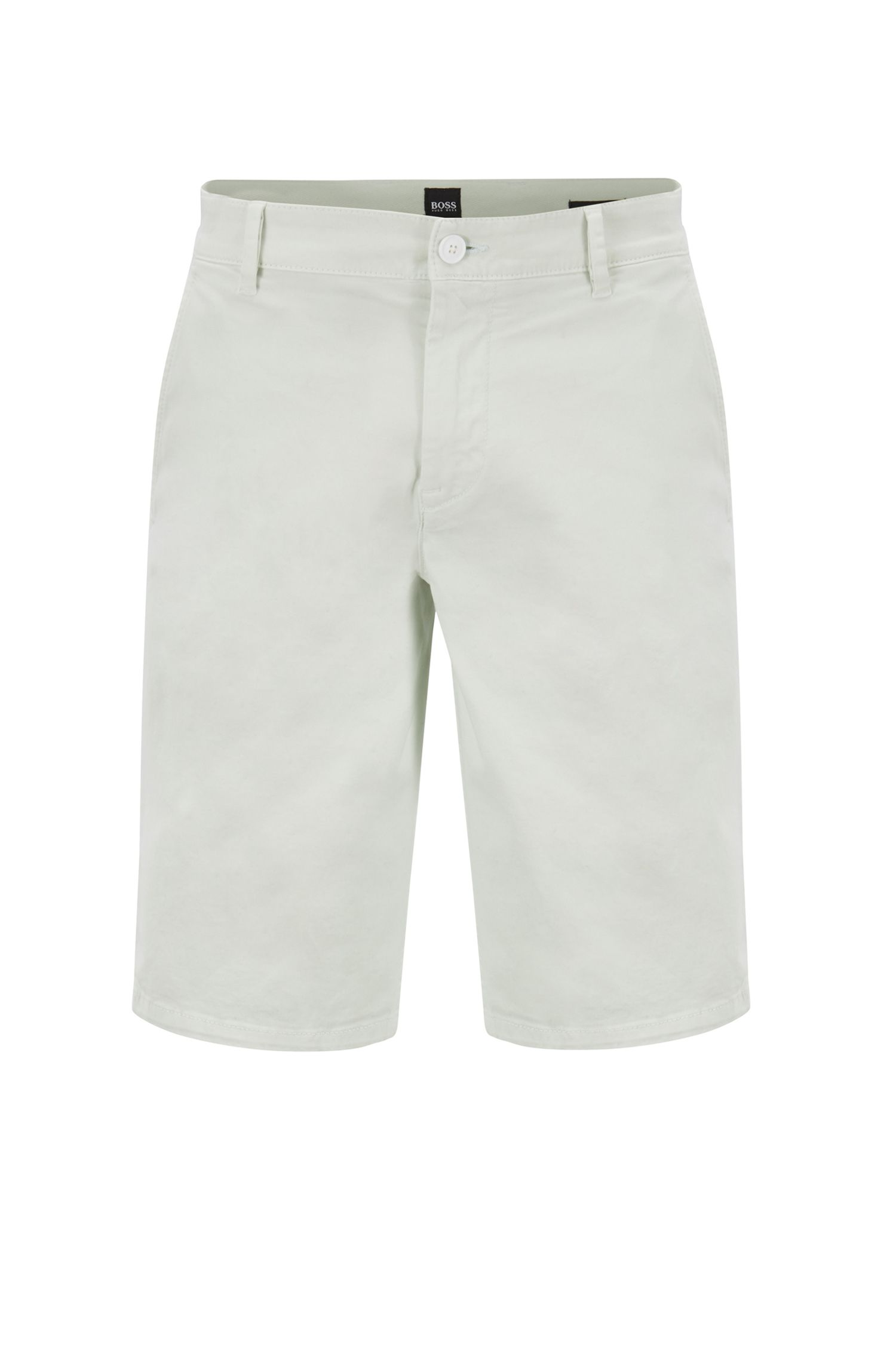 Shorts chinos slim fit en satén elástico con teñido doble, Cal