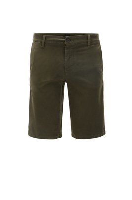Slim-fit chino shorts in double-dyed stretch satin, ライトグリーン
