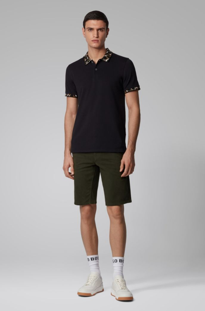 Slim-fit chino shorts in double-dyed stretch satin