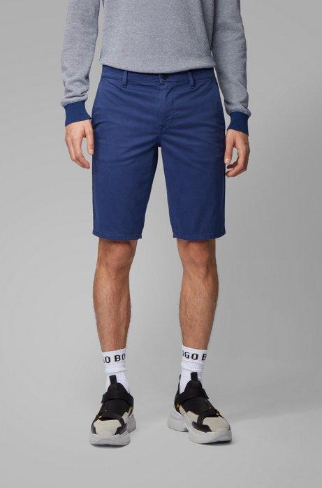 Shorts chinos slim fit en satén elástico con teñido doble, Azul oscuro