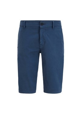 Short chino Slim Fit en satin stretch double teinte, Bleu foncé