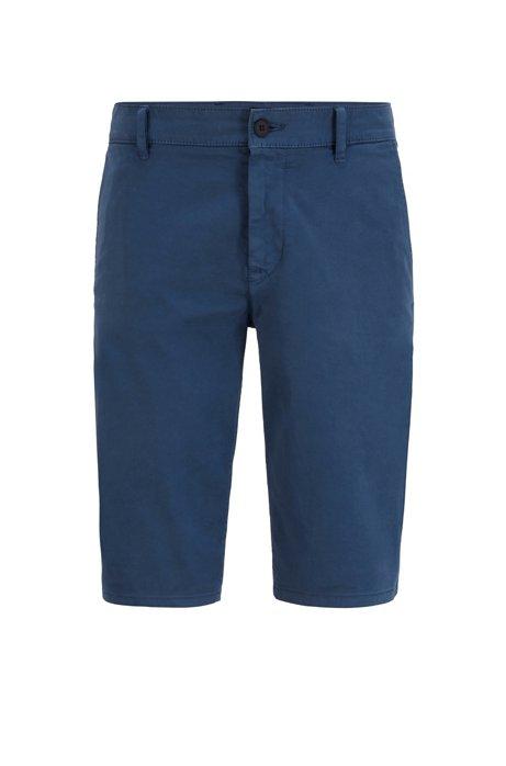 Short chino Slim Fit en satin stretch double teinte, Bleu foncé