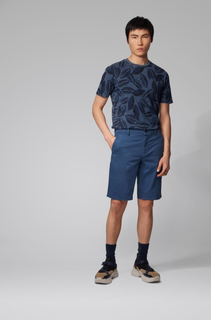Short chino Slim Fit en satin stretch double teinte