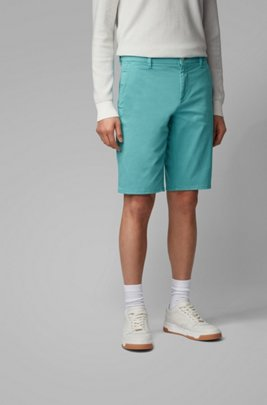 Slim-fit chino shorts in double-dyed stretch satin, Turquoise