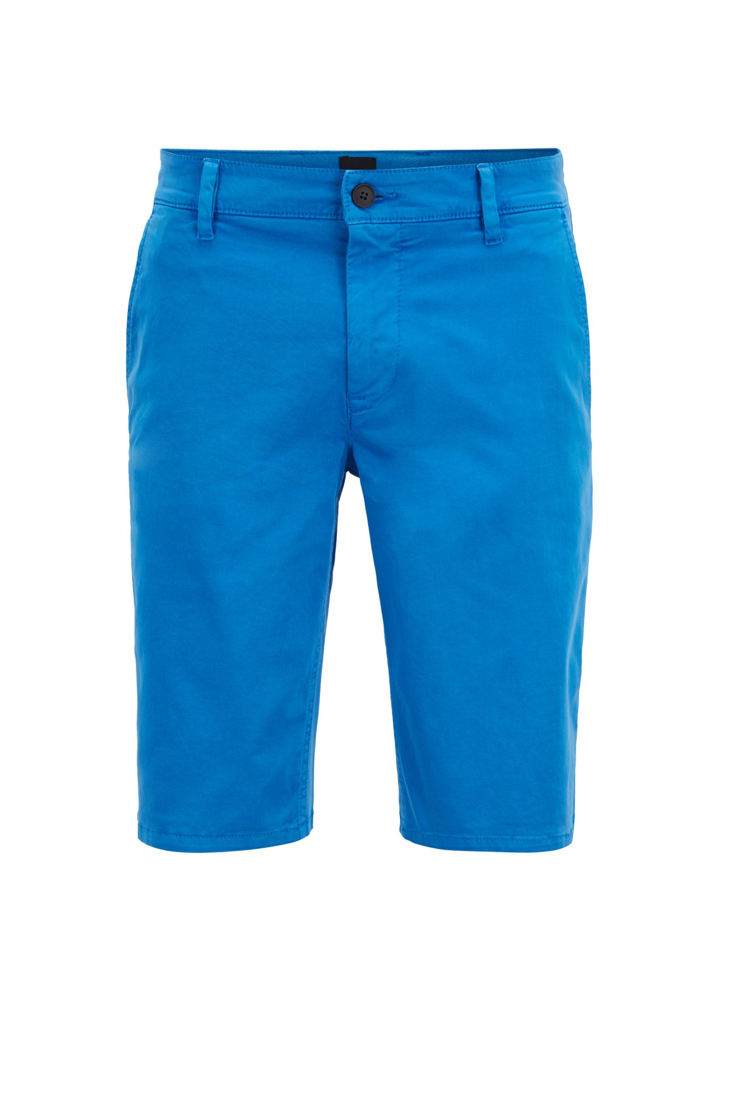 Slim-fit chino shorts in double-dyed stretch satin, Light Blue