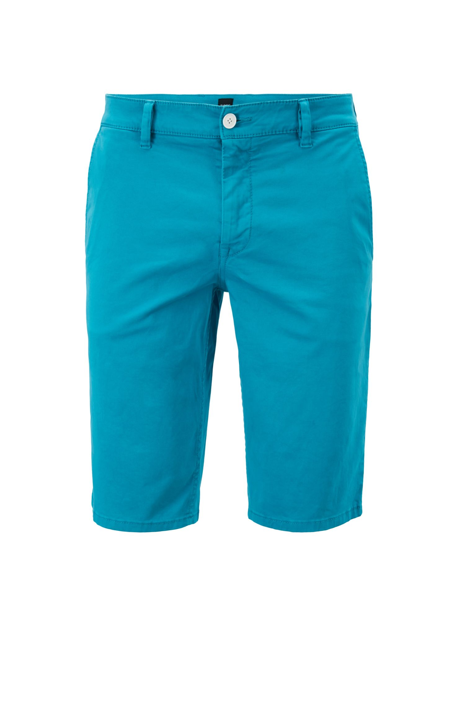 Short chino Slim Fit en satin stretch double teinte, Turquoise