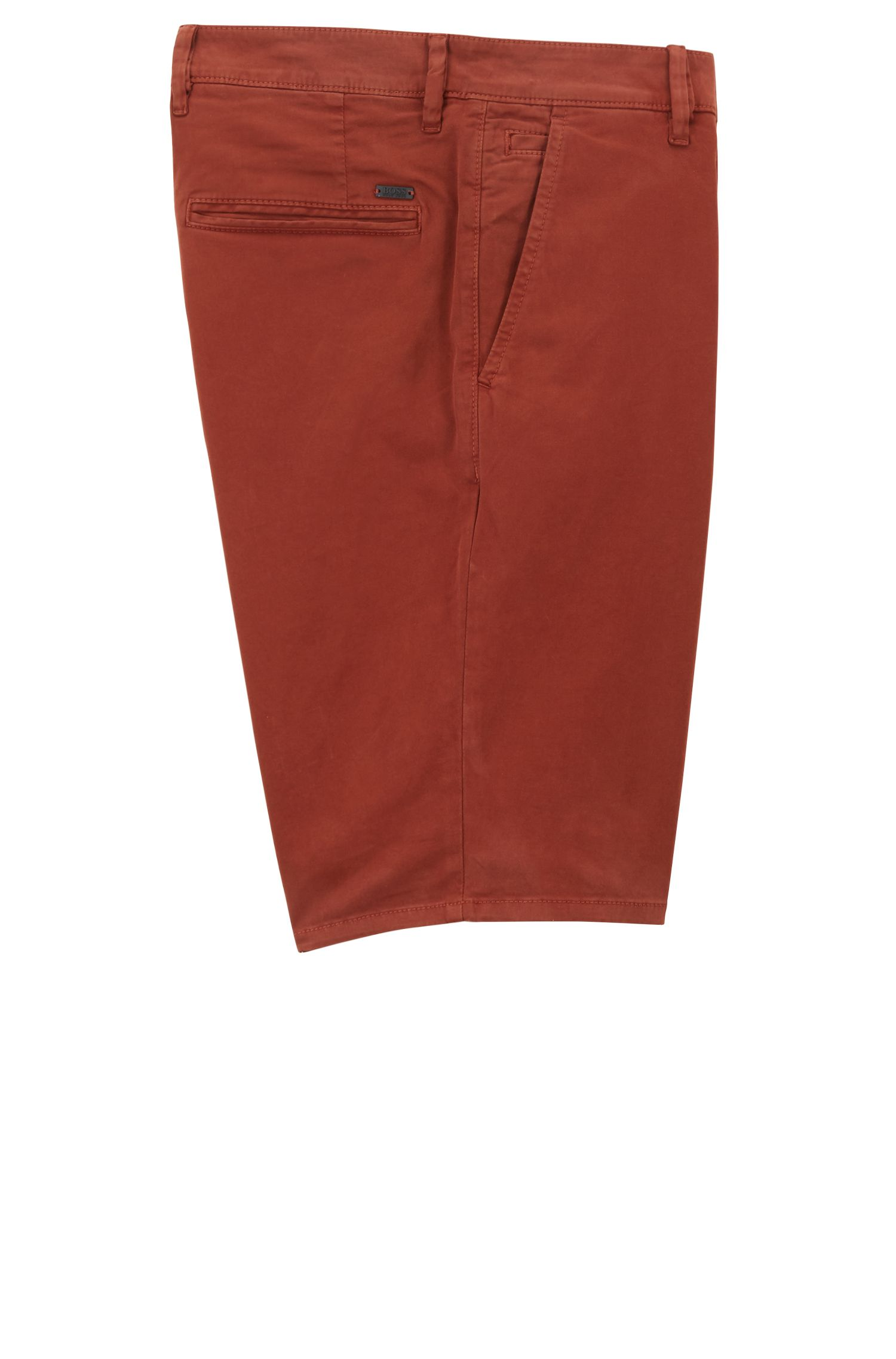 Short chino Slim Fit en satin stretch double teinte, Rouge sombre