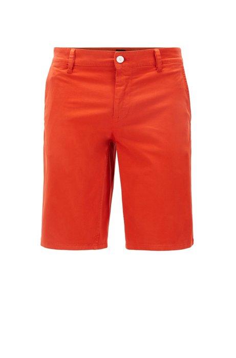 Slim-Fit Chino-Shorts aus doppelt gefärbtem Stretch-Satin, Dunkelorange