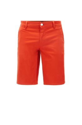 Short chino Slim Fit en satin stretch double teinte, Orange foncé