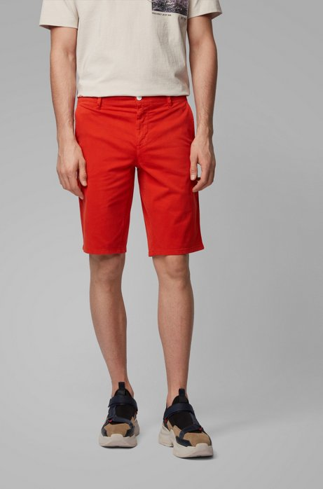 Slim-fit chino shorts in double-dyed stretch satin, Dark Orange