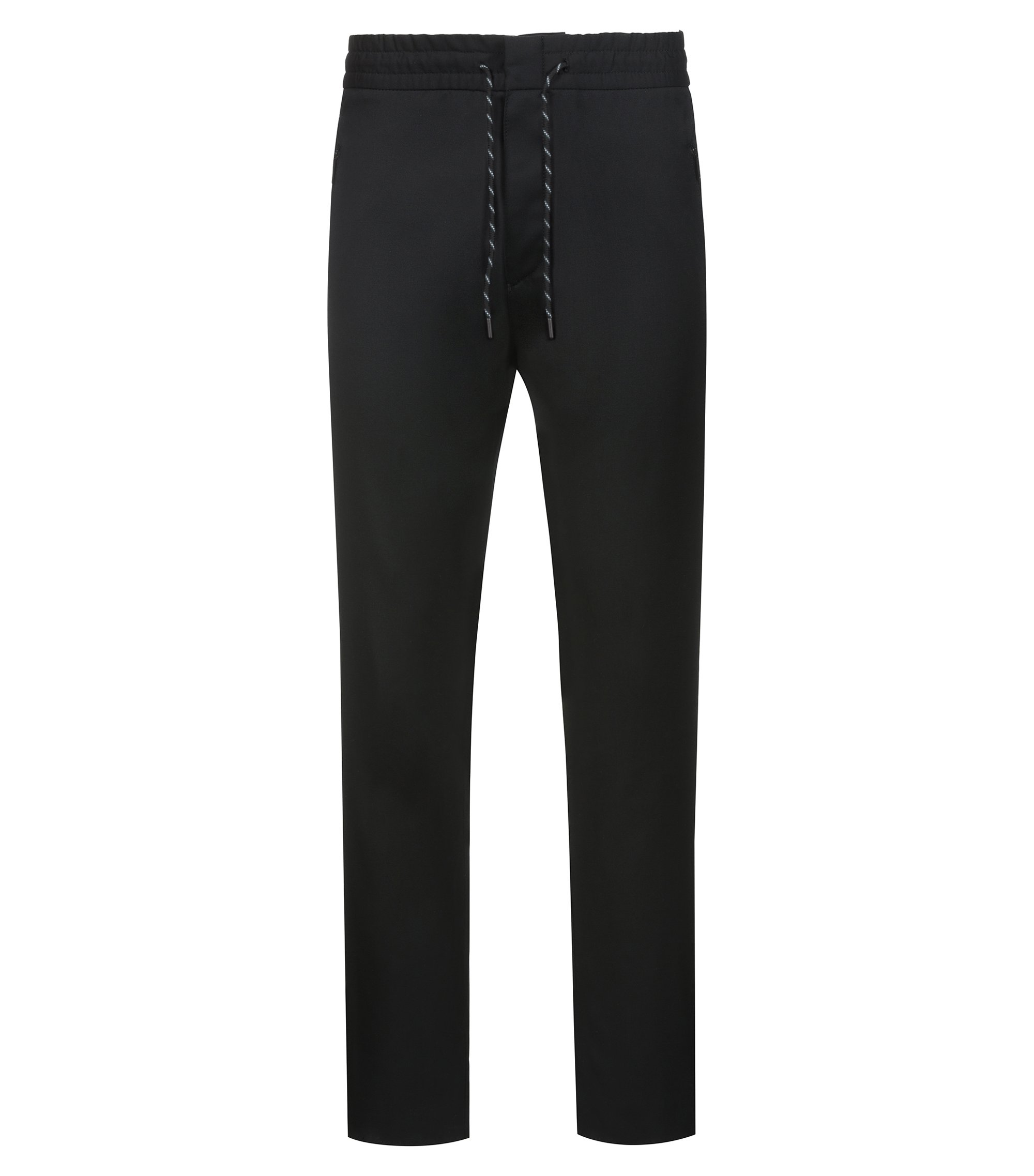 Pantalon Tapered Fit à cordon de serrage en laine vierge, issu de la collection capsule Bits & Bytes, Noir