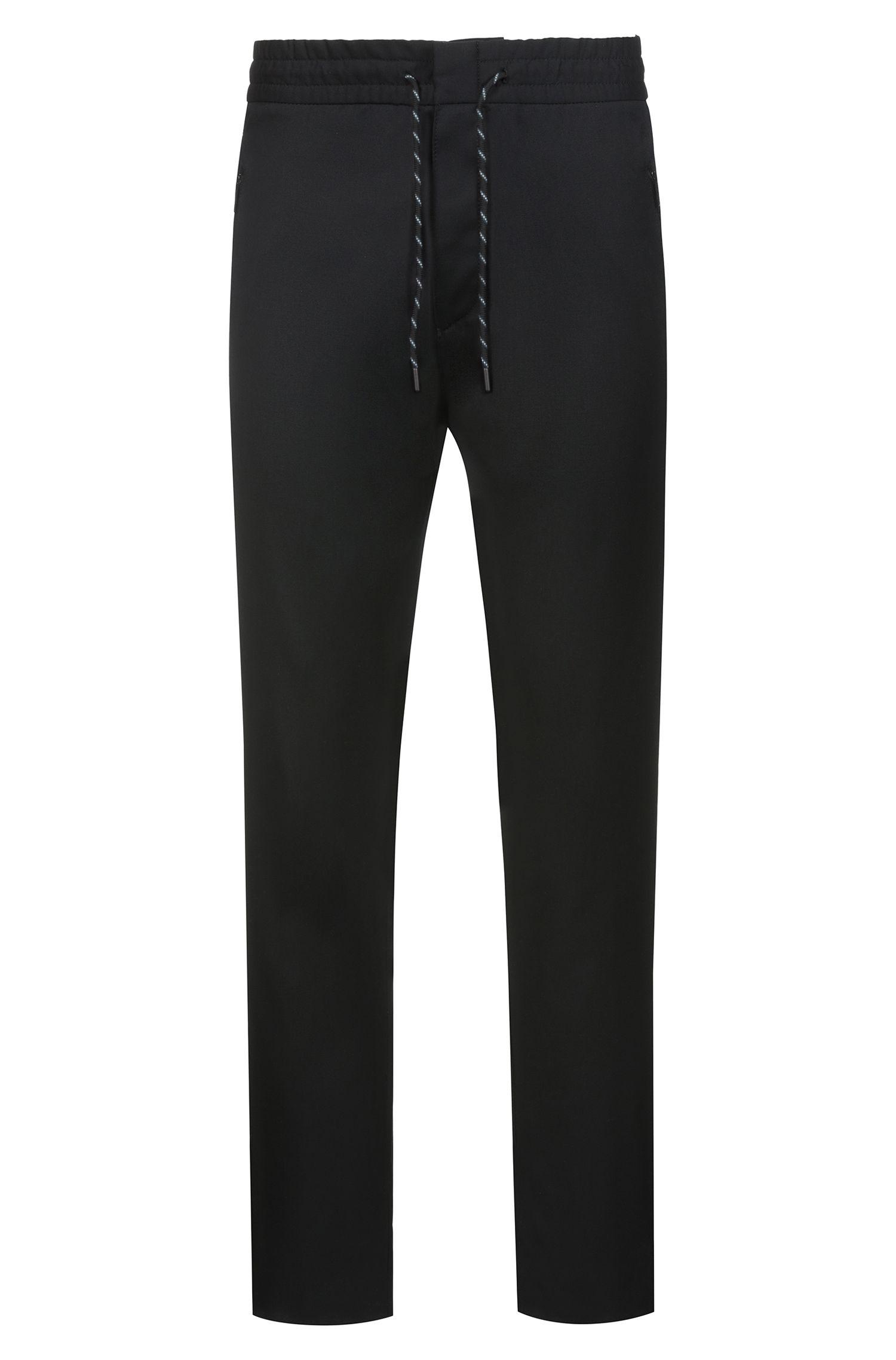 Tapered-fit broek van scheerwol met trekkoord uit de Bits & Bytes-capsule, Zwart