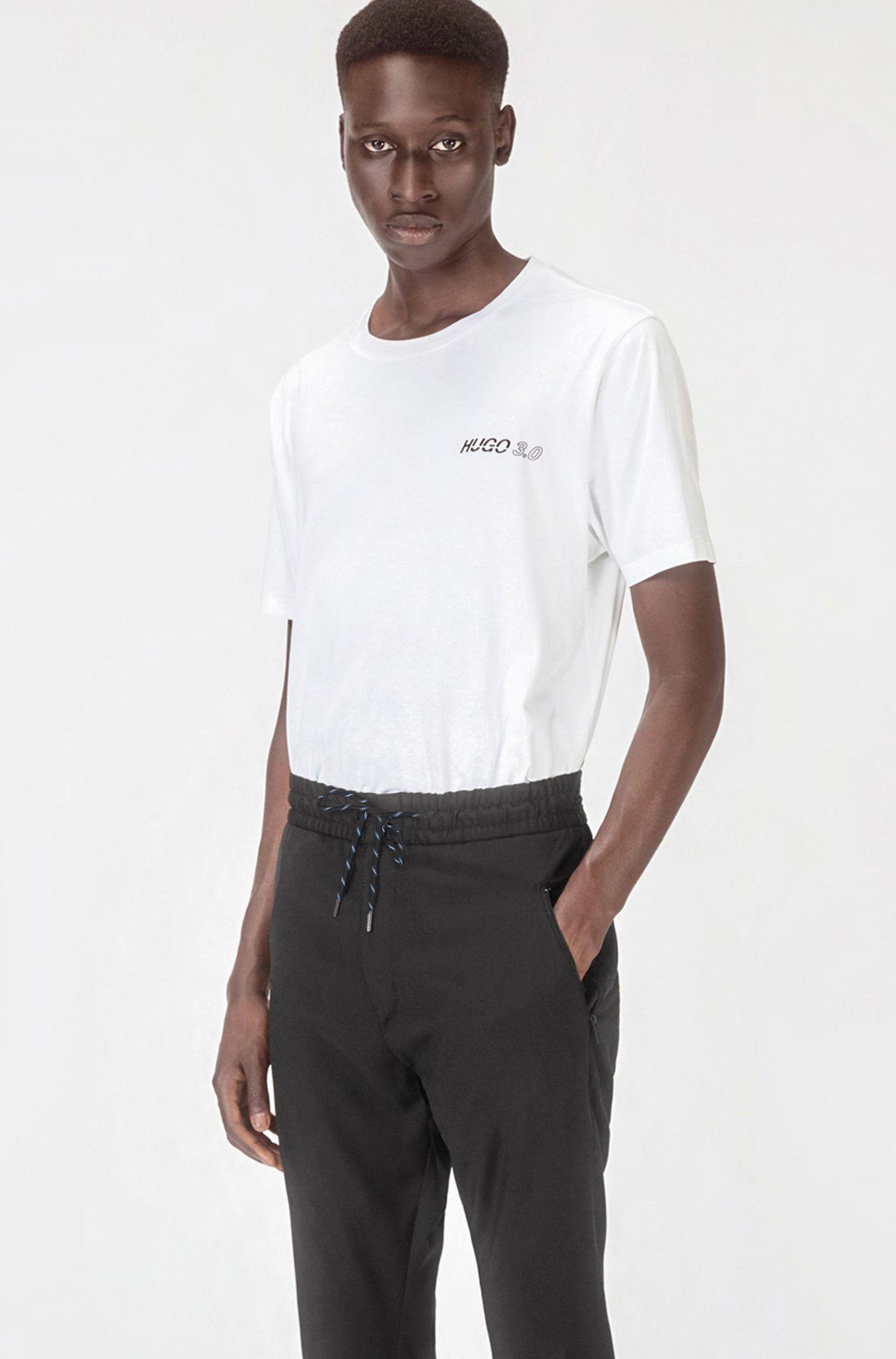 Pantaloni con coulisse tapered fit in lana vergine della capsule Bits & Bites, Nero