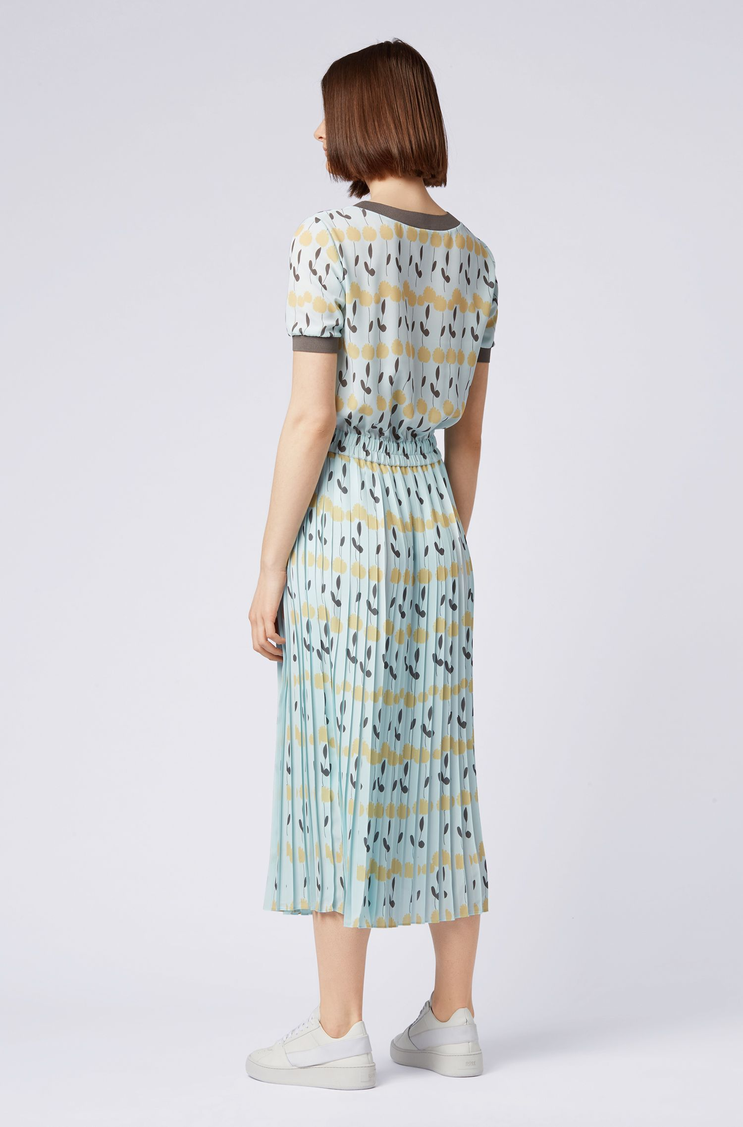 Regular-fit midi dress in floral print, Patterned